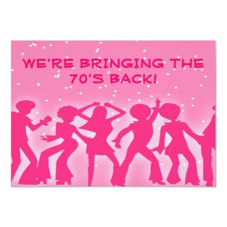 Rosa party för diskotema70-tal 12,7 x 17,8 cm inbjudningskort