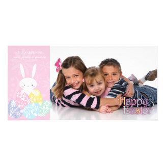 Rosa påskhare- & äggfotokort fotokort