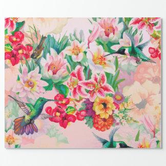 Rosa pastellfärgad Åska-Fågel för blom- Presentpapper