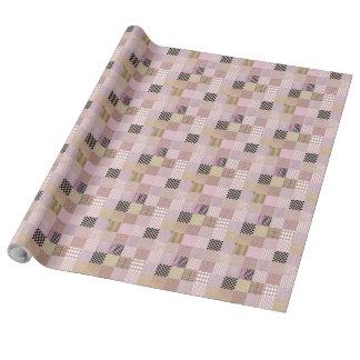 """Rosa patchworklinne som slår in papper, 30"""" x 30', presentpapper"""