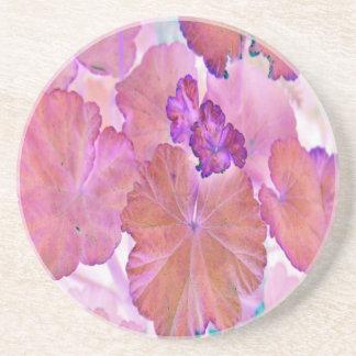 Rosa pelargonlöv glasunderlägg i sandsten