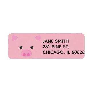 Rosa Piggy ansikte Returadress Etikett