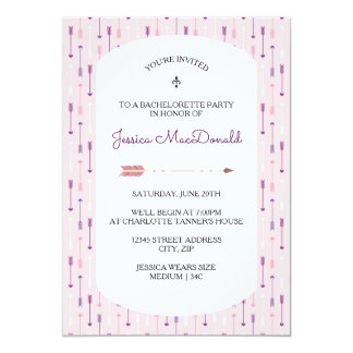 Rosa pilar - Bachelorette partyinbjudan 12,7 X 17,8 Cm Inbjudningskort