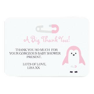 Rosa pingvintack för baby 8,9 x 12,7 cm inbjudningskort