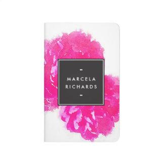 Rosa pionpersonlig för elegant vattenfärg anteckningsbok