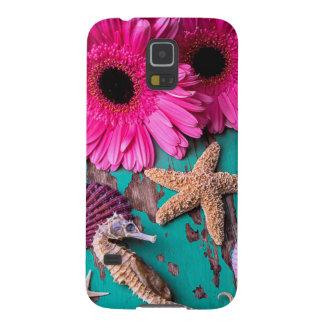 Rosa podier och Seahorse med sjöstjärnan Galaxy S5 Fodral