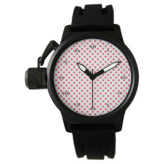 Rosa polka dots för korall av Shirley Taylor Armbandsur
