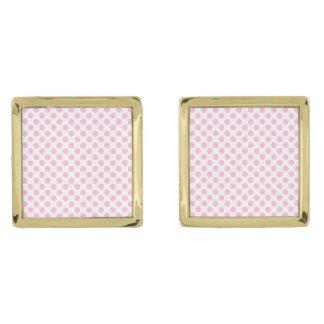 Rosa polka dots med anpassadebakgrund guldpläterade manschetterknappar