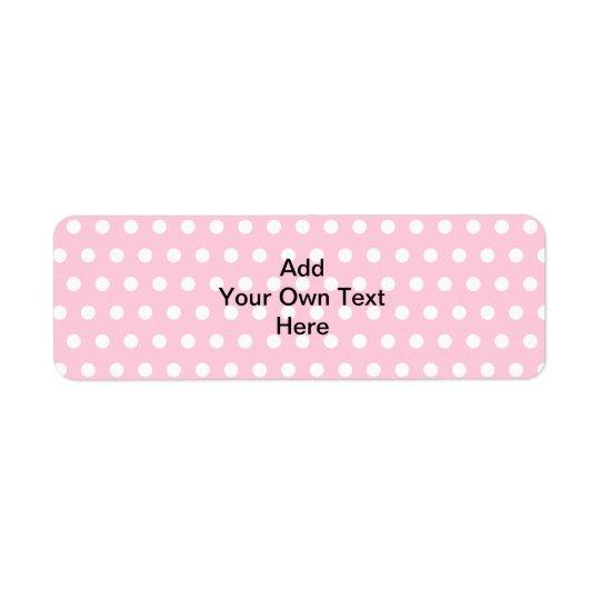 Rosa polka dots, med anpassningsbarsvarttext returadress etikett