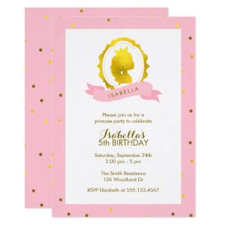 Rosa Princess Cameo Flicka Födelsedag 12,7 X 17,8 Cm Inbjudningskort