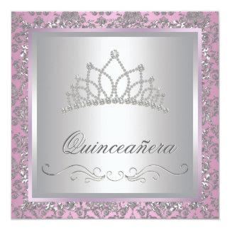 Rosa Princess Festa för diamantTiara Personliga Inbjudningskort