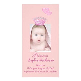 Rosa Princess Flicka Födelse Meddelande Photocard Fotokort