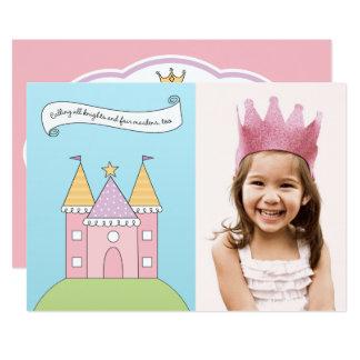 Rosa Princess för fotofödelsedagsfest inbjudan  