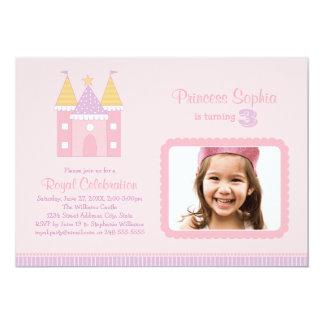 Rosa Princess för fotofödelsedagsfest inbjudan | 12,7 X 17,8 Cm Inbjudningskort