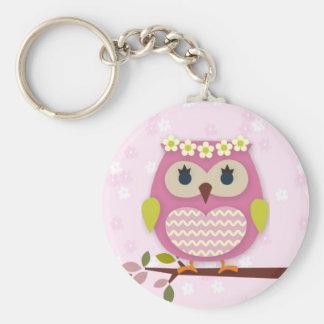 Rosa Princess Uggla 02 Keychain Rund Nyckelring