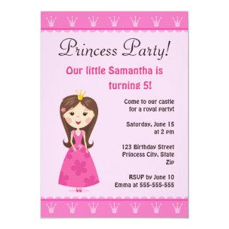 Rosa princessfödelsedagsfest inbjudan