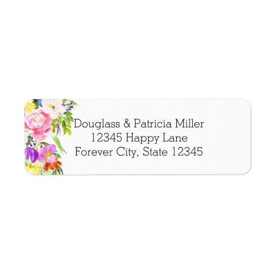 Rosa purpurfärgad blom- vattenfärgguldgnistra returadress etikett