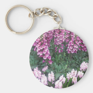 ROSA purpurfärgad blomsterutställning: Sensuell Rund Nyckelring