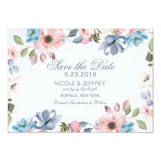Rosa purpurfärgad bröllop spara datum för 12,7 x 17,8 cm inbjudningskort