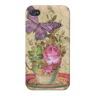 Rosa & purpurfärgad fjäril för vintagetekopp iPhone 4 fodral