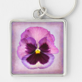 Rosa purpurfärgad Pansyblomma Fyrkantig Silverfärgad Nyckelring