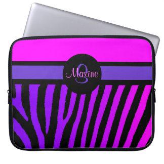 Rosa purpurfärgad sebralaptop sleeve för anpassade laptop datorskydd
