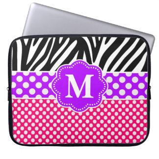 Rosa purpurfärgad sebraMonogramlaptop sleeve Laptopskydd Fodral