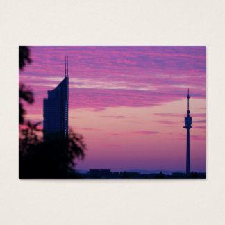 Rosa purpurfärgad soluppgång i Wien Österrike Visitkort