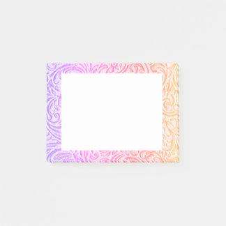 Rosa purpurfärgad vintageblommigt Scrollwork för Post-it Lappar
