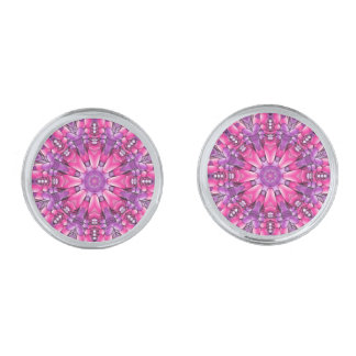 Rosa purpurfärgade Cufflinks för n, 4 formar Silverpläterade Manschetterknappar