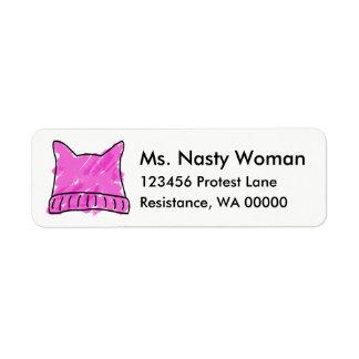 Rosa Pussyhattetiketter Returadress Etikett