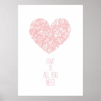 Rosa Quarts kärlek är alla som du behöver valentin Poster