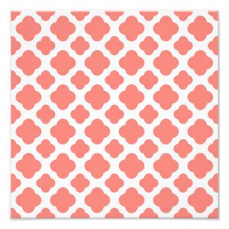 Rosa Quatrefoil för korall mönster Fototryck