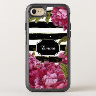 Rosa rand för vit för pionblommigtsvart OtterBox symmetry iPhone 7 skal