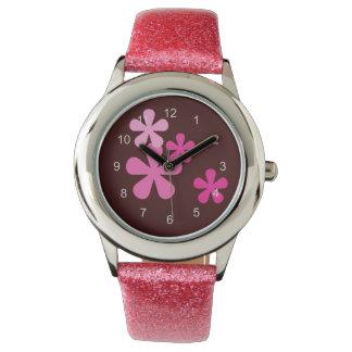 Rosa Retro blommaklocka Armbandsur