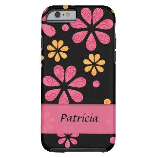 Rosa Retro blommor för personlig på svart Tough iPhone 6 Fodral