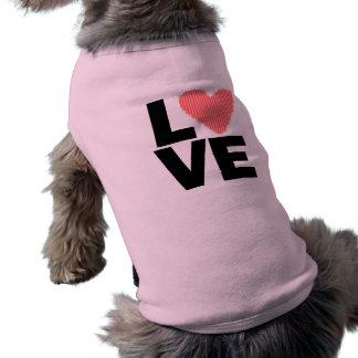 Rosa Retro kärlek som är röd Djur Tee Shirt
