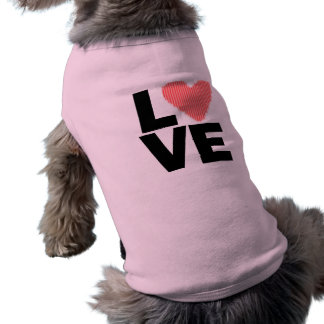 Rosa Retro kärlek som är röd & Djur Tee Shirt