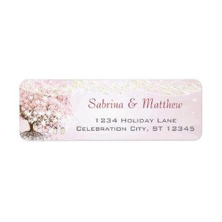 Rosa returadress för hjärtalövträd returadress etikett