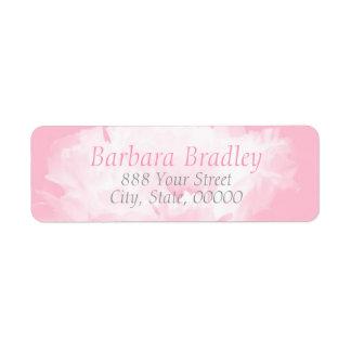 Rosa returadress för pionblommönster 1 returadress etikett