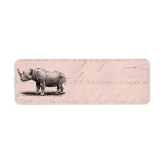 Rosa Rhinos för noshörning för Returadress Etikett