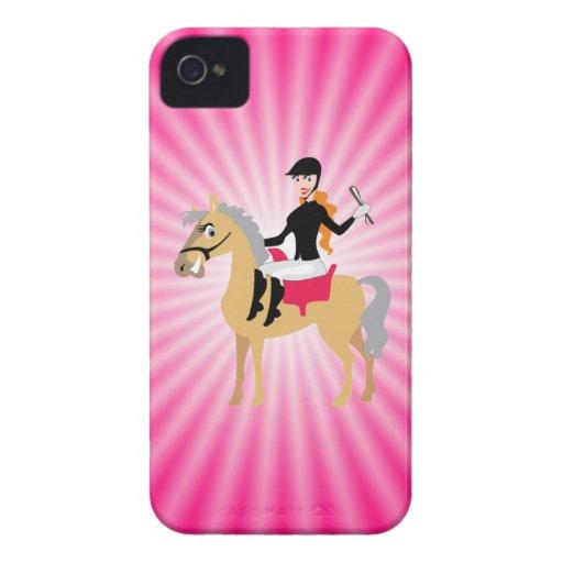 Rosa rid- flicka Case-Mate iPhone 4 cases