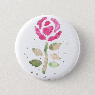 Rosa ros 2 (vattenfärgen vid Kim Turnbull konst) Standard Knapp Rund 5.7 Cm