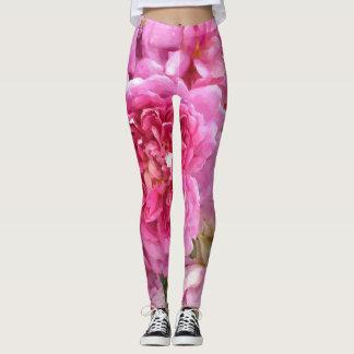 Rosa ros blommigt leggings