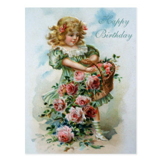 Rosa ros för grattis på födelsedagenVictorianvykor