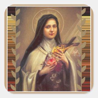 Rosa ros för St. Therese Fyrkantigt Klistermärke