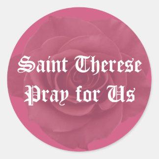Rosa ros för St. Therese Runt Klistermärke