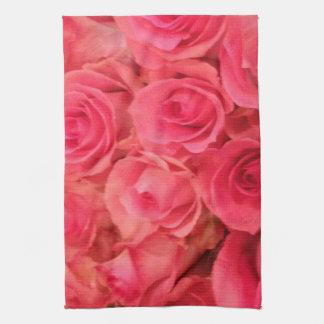 Rosa ros kökshandduk