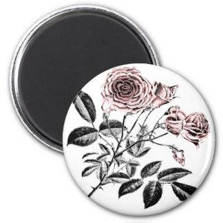 Rosa ros magnet rund 5.7 cm