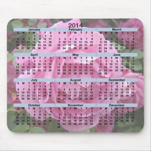 Rosa ros Mousepad för 2014 kalender Mus Matta